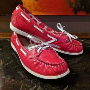 Fun Red Patent Leather Loafers / Boat Shoes